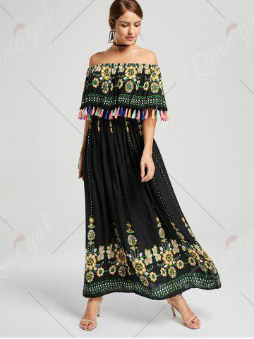 Discount Tassel Off The Shoulder Maxi Boho Dress - S BLACK Mobile
