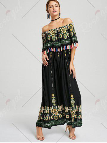 Outfits Tassel Off The Shoulder Maxi Boho Dress - S BLACK Mobile