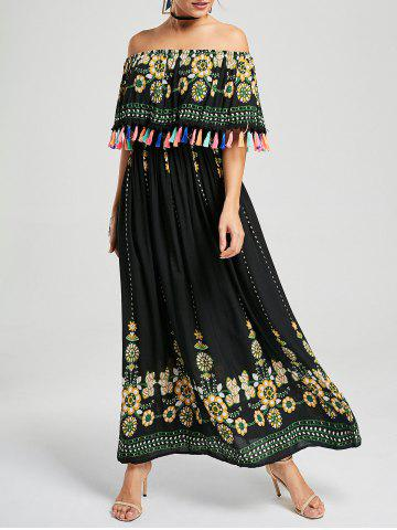 Chic Tassel Off The Shoulder Maxi Boho Dress - S BLACK Mobile