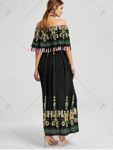 Best Tassel Off The Shoulder Maxi Boho Dress - S BLACK Mobile
