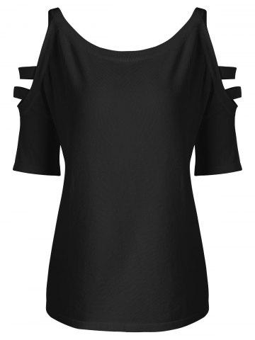 Fashion Straps Cold Shoulder Plus Size Knit T-shirt - 3XL BLACK Mobile