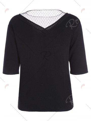 Sale Voile Panel Stripe Knit Plus Size  Tee - 3XL BLACK Mobile
