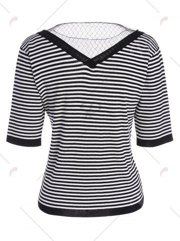 Hot Voile Panel Stripe Knit Plus Size  Tee - 4XL STRIPE Mobile