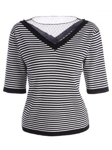 Voile Panel Stripe Knit Plus Size  Tee - Stripe - 3xl