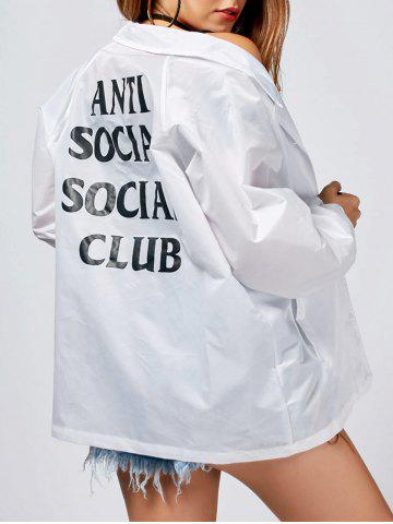 Chic Lapel Letter Print Button Up Jacket - S WHITE Mobile