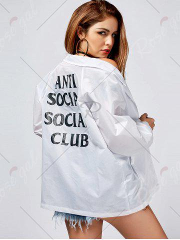 Shops Lapel Letter Print Button Up Jacket - M WHITE Mobile