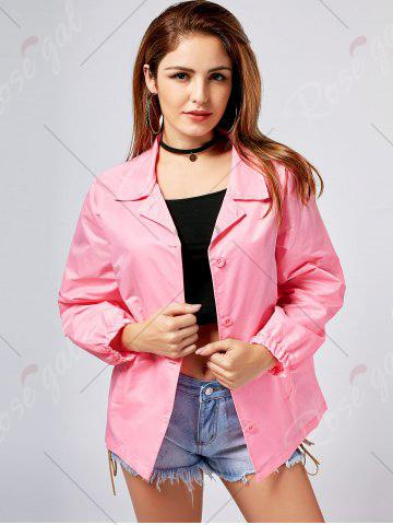 Chic Lapel Letter Print Button Up Jacket - S PINK Mobile