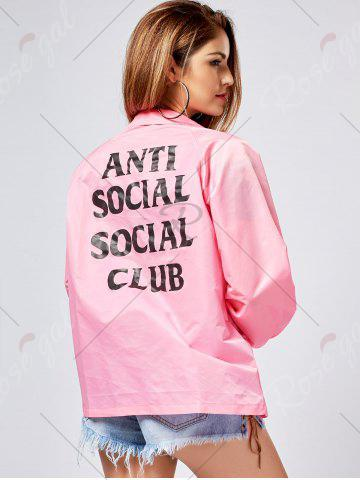 Affordable Lapel Letter Print Button Up Jacket - S PINK Mobile