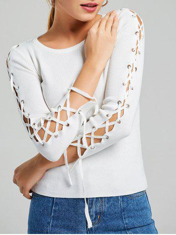 New Long Sleeve Ribbed Lace Up Knit Sweater - ONE SIZE WHITE Mobile