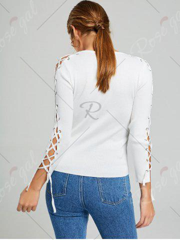 Outfit Long Sleeve Ribbed Lace Up Knit Sweater - ONE SIZE WHITE Mobile