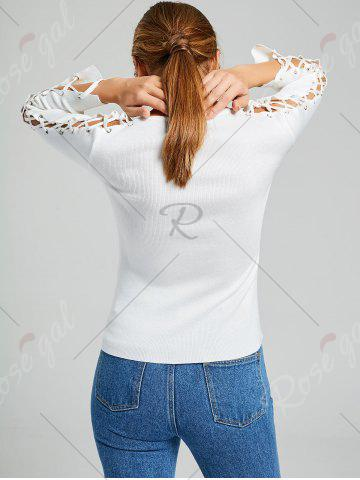 Chic Long Sleeve Ribbed Lace Up Knit Sweater - ONE SIZE WHITE Mobile