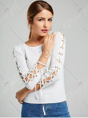 Fashion Long Sleeve Ribbed Lace Up Knit Sweater - ONE SIZE WHITE Mobile