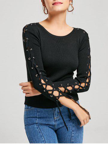 Discount Long Sleeve Ribbed Lace Up Knit Sweater - ONE SIZE BLACK Mobile