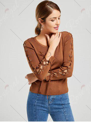 Discount Long Sleeve Ribbed Lace Up Knit Sweater - ONE SIZE KHAKI Mobile