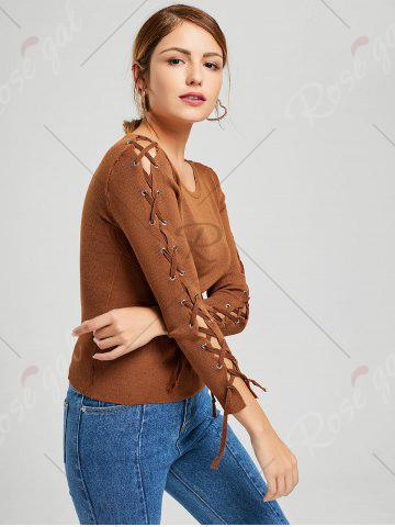 Affordable Long Sleeve Ribbed Lace Up Knit Sweater - ONE SIZE KHAKI Mobile