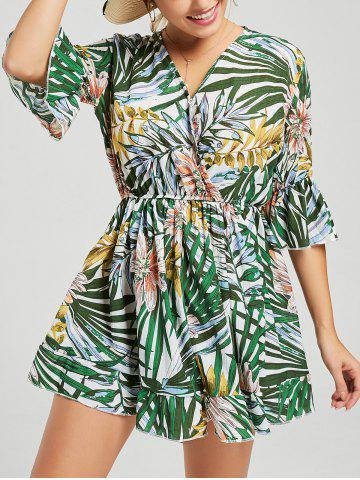 Sale Tropical Print V Neck Surplice Romper MULTI S