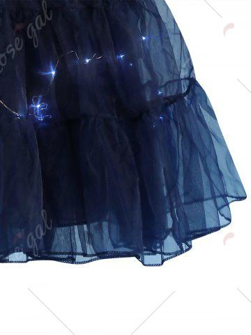 Latest Flounce Light Up Bubble Cosplay Skirt - CERULEAN L Mobile