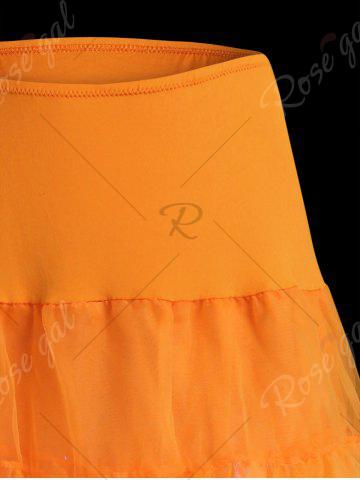 Sale Flounce Light Up Bubble Cosplay Skirt - ORANGE M Mobile