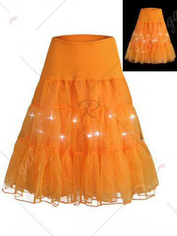 Best Flounce Light Up Bubble Cosplay Skirt - ORANGE M Mobile