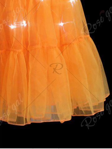 Discount Flounce Light Up Bubble Cosplay Skirt - ORANGE M Mobile