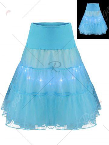 Chic Flounce Light Up Bubble Cosplay Skirt - LIGHT BLUE L Mobile