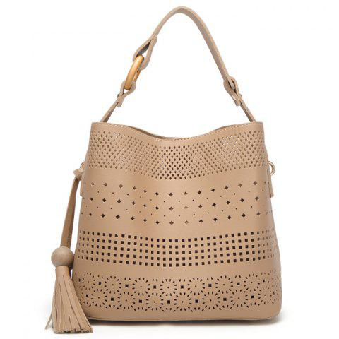 Sale Tassel Cut Out Tote Bag APRICOT