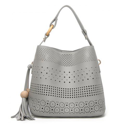 Outfits Tassel Cut Out Tote Bag GRAY