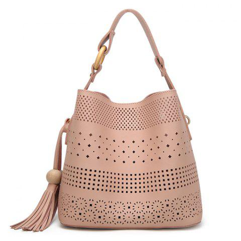 Tassel Cut Out Tote Bag - Pink