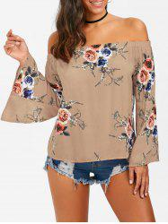Off The Shoulder Floral Flare Sleeve Blouse