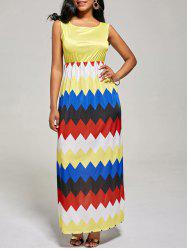 Sleeveless Color Block Long Zig Zag Dress - YELLOW S