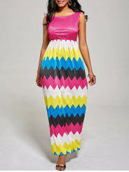 Sleeveless Color Block Long Zig Zag Dress