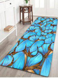 Flannel Skidproof Rug with Butterfly Print - Blue - W24 Inch * L71 Inch