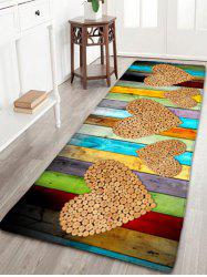 Wood Grain Printed Flannel Skidproof Heart Rug - WOOD COLOR