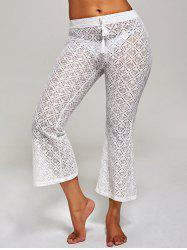 Crochet Wide Leg Boho Beach Pants - WHITE