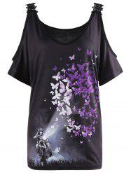 Butterfly Print Lace Insert Cold Shoulder Blouse - BLACK