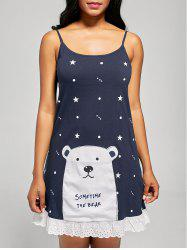 Bear Print Cotton Slip Sleep Dress - Azuré
