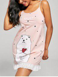 Cami Bear et Stars Print Sleep Dress - Orange Rose