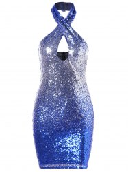 Sequined Cut Out Halter Mini Dress -