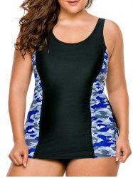 Lace-Up Plus Size Camo Swimsuit