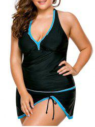Halter Skirted Plus Size Tankini Set - Black - Xl