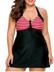 Halter Skirted Plus Size Swimsuit - RED 2XL