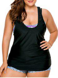 Cross Back Strappy Plus Size Tankini Set