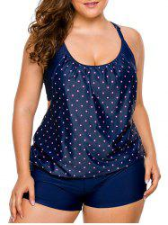Cross Back Plus Size Tankini Set - PURPLISH BLUE