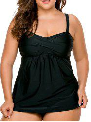 Twist Front Plus Size Tankini Set - BLACK