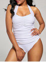 Shirred Halter One-Piece Swimsuit