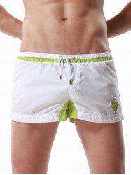 Graphic Embroidered Drawstring Panel Sport Shorts - WHITE L