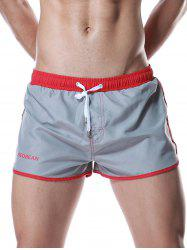 Color Block Panel Drawstring Graphic Sport Shorts - GRAY XL