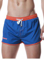 Color Block Panel Drawstring Graphic Sport Shorts - BLUE XL