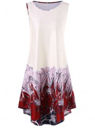 Sleeveless Asymmetrical Floral Print Dress - White - 2xl