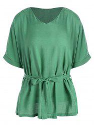 Plus Size V Neck Belted Top